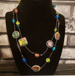 Foil Enameled Two Strand Necklace